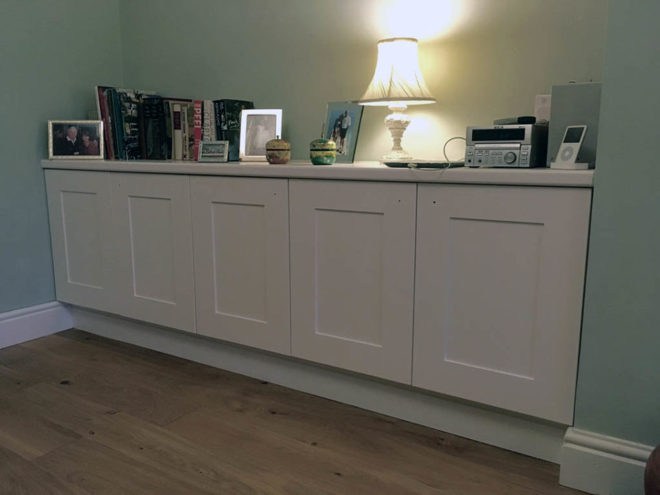 Alcove cupboards made to measure and painted to client's choice.